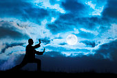 Man performs Tai Chi sport under moonlight. Tai Chi is a old Chinese martial art practiced for both its defense training and its health benefits. Its full name is Tai Chi Chuan. Tai Chi is a meditation sport for many people living in the modern world. It is similar to kung fu; judo; aikido; taekwondo; Yoga; etc.