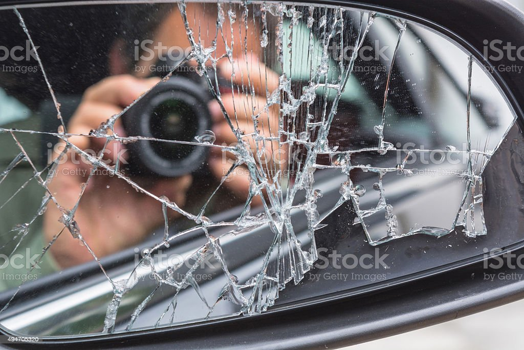 Man photographed from the car stock photo