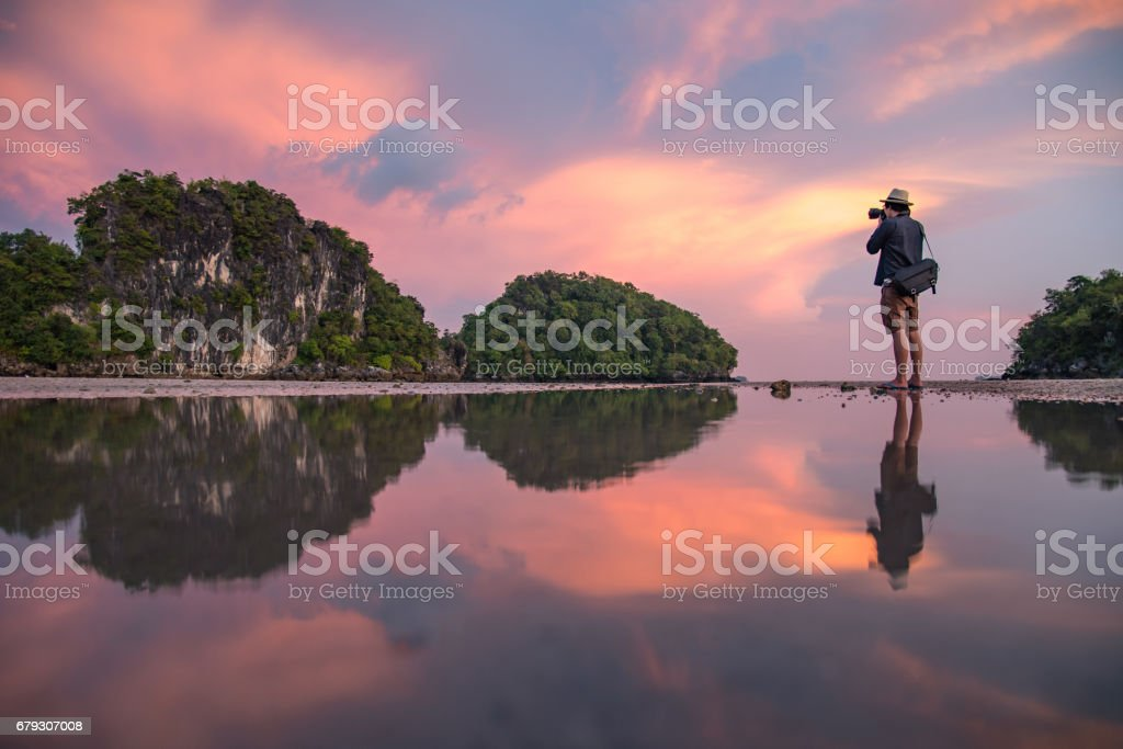 man photographer and summer landscape of Krabi, Thailand stock photo