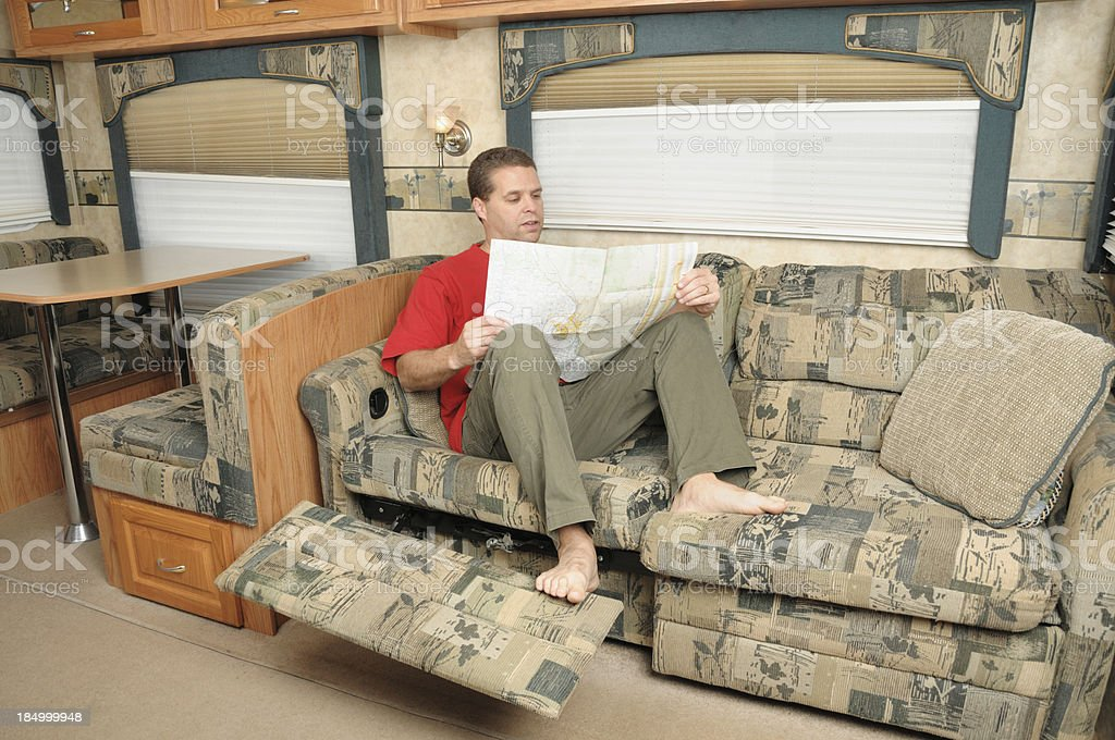 Man planning trip in rv royalty-free stock photo