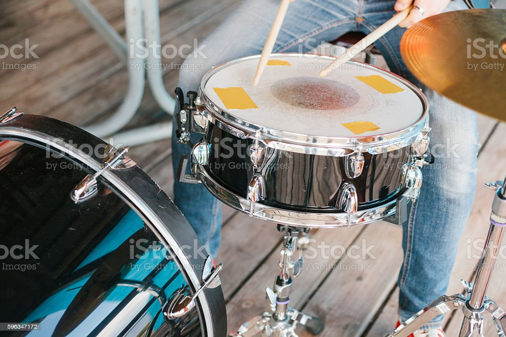 Man playing a drum. royalty-free stock photo