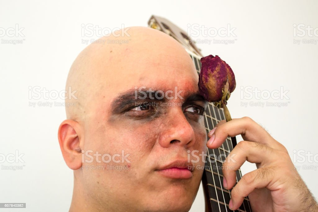 Man playing a guitar stock photo