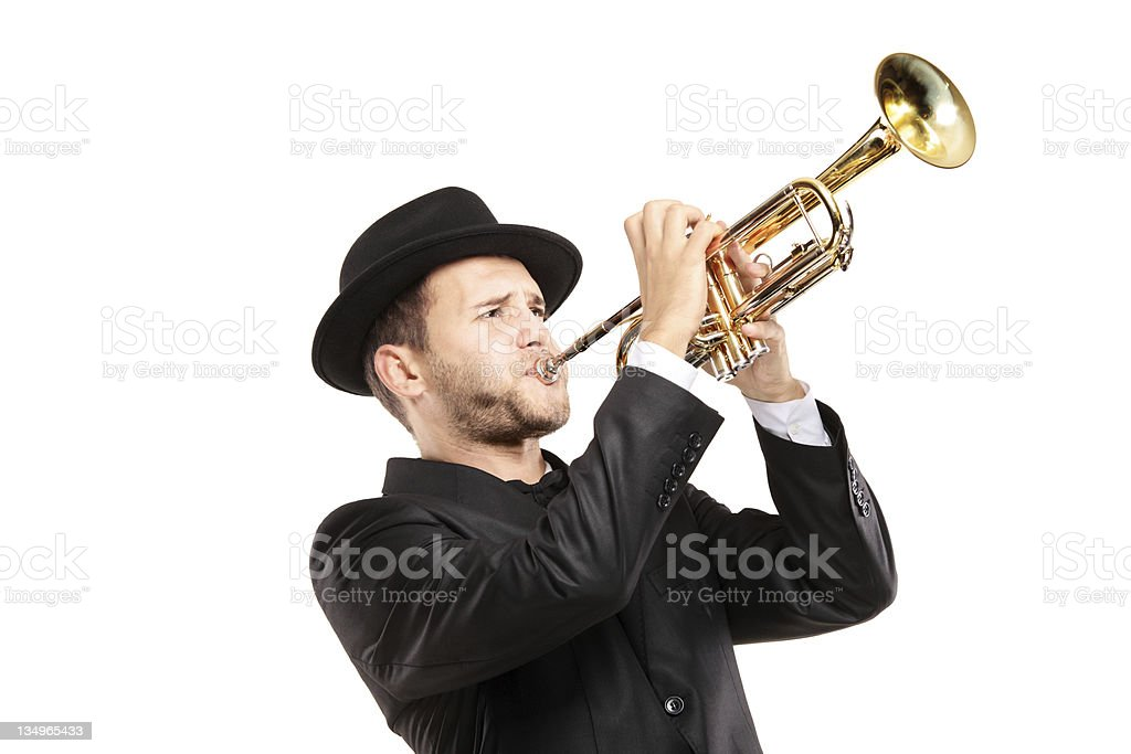 Man playing a trumpet stock photo