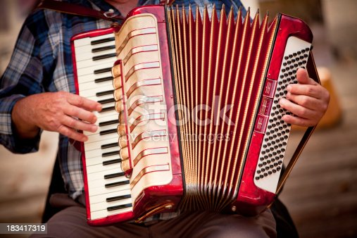 Street performer playing music on a vintage accordion squeeze box