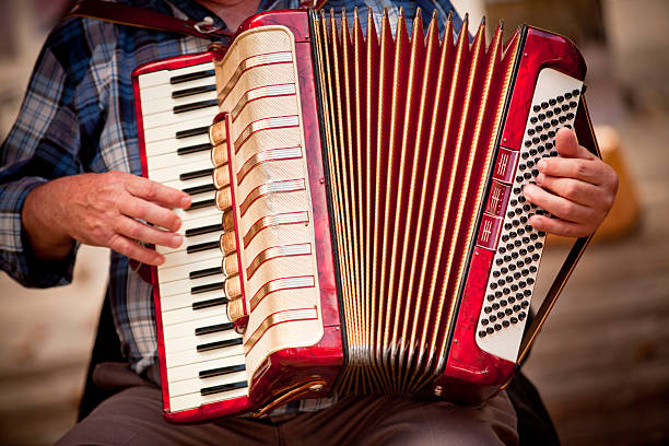 man playing accordian - accordion stock photos and pictures