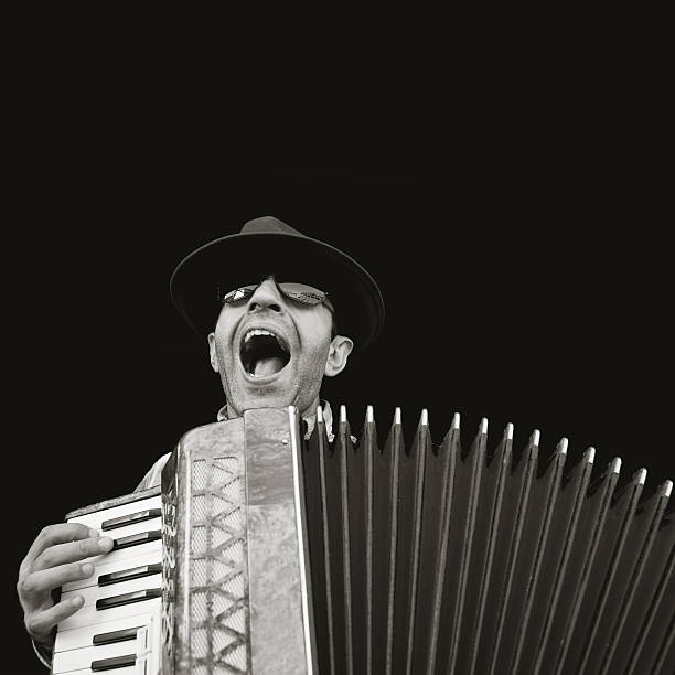 man playing accordion - accordion stock photos and pictures
