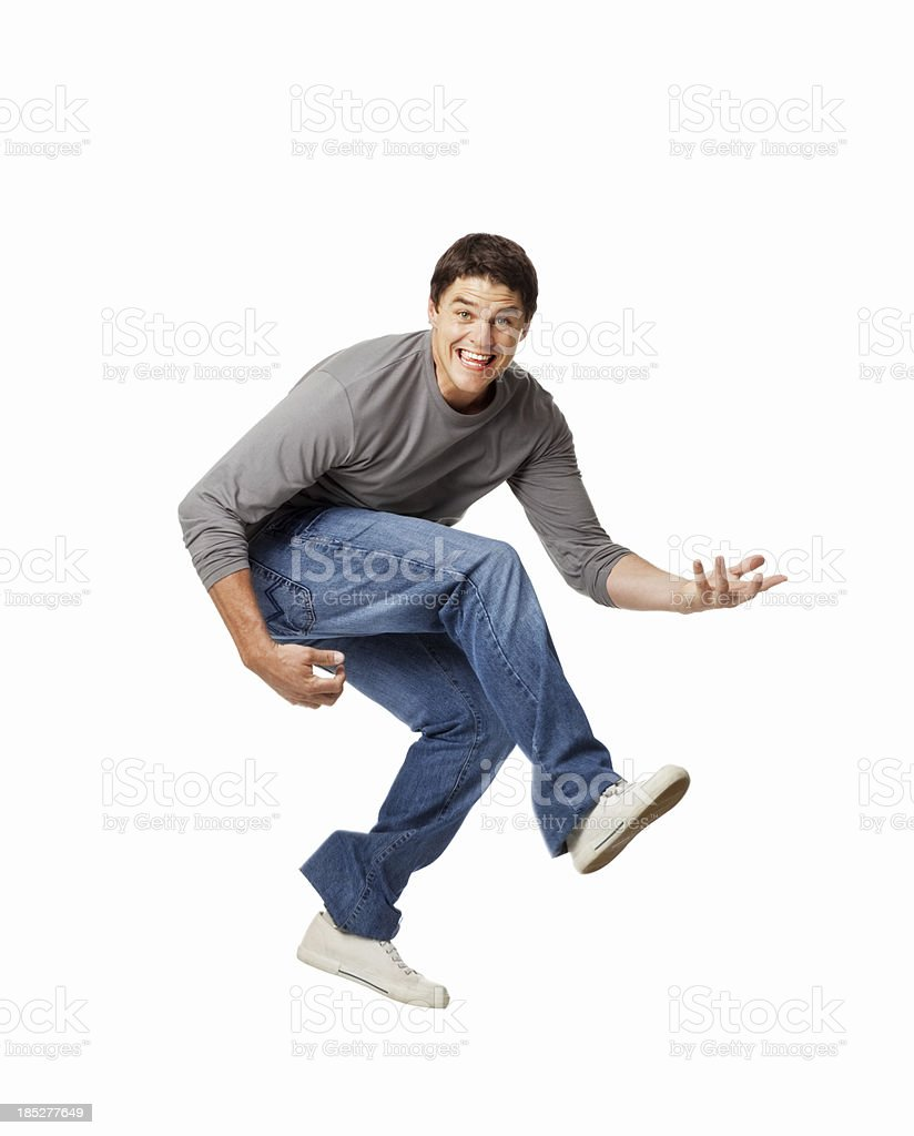 Man Playing Air Guitar - Isolated stock photo