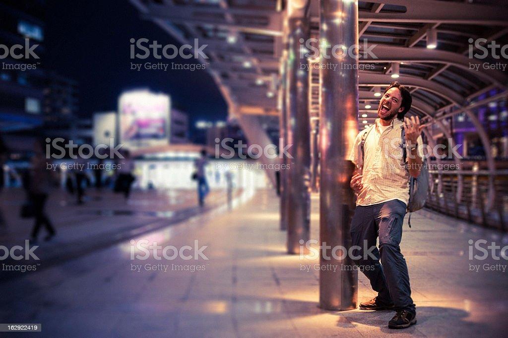 Man Playing Air Guitar stock photo