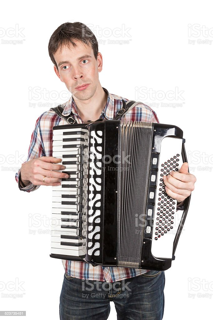 Man playing an accordion isolated over white stock photo