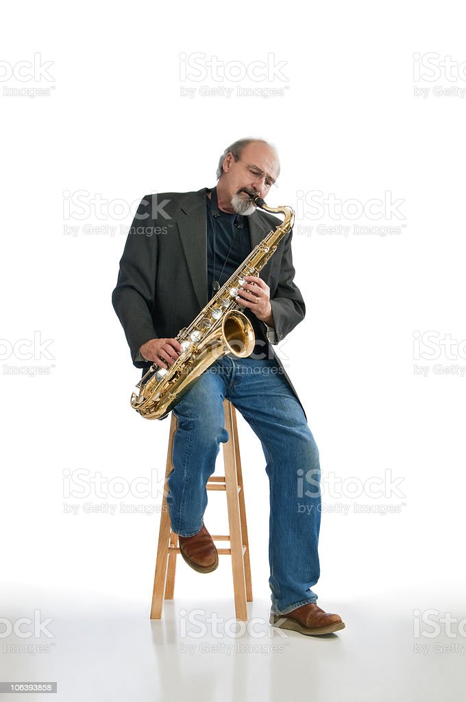 Man playing blues on a tenor sax royalty-free stock photo