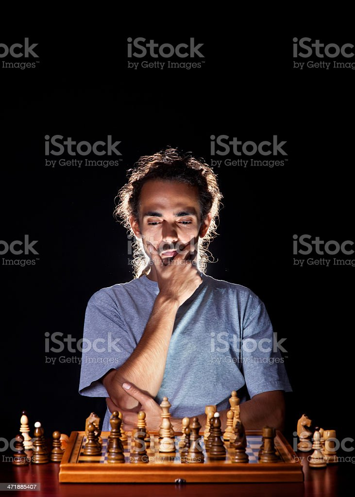 Man playing chess royalty-free stock photo