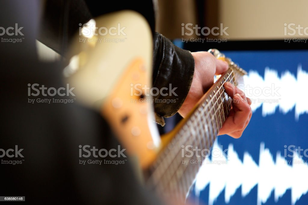 Man Playing Chord On Electric Guitar Stock Photo More Pictures Of
