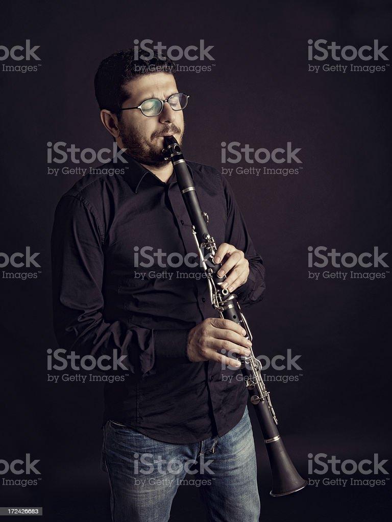 Man Playing Clarinet royalty-free stock photo
