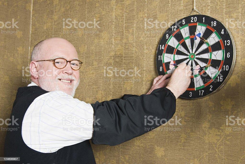 Man Playing Darts royalty-free stock photo