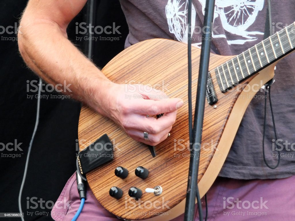 Man Playing Electric Guitar In Close Up Stock Photo More Pictures