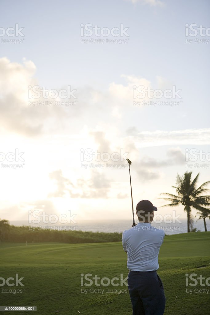 Man playing golf on golf course, rear view royalty-free stock photo