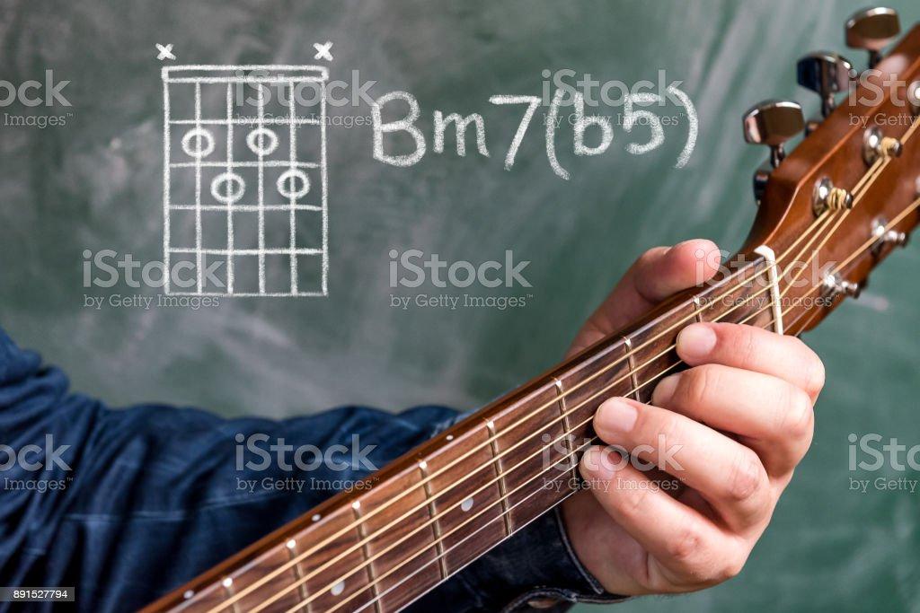 Man Playing Guitar Chords Displayed On A Blackboard Chord B Minor 7 ...
