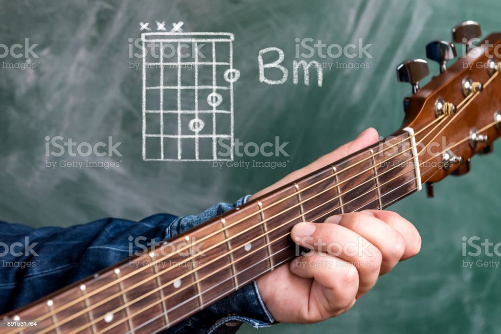 Man Playing Guitar Chords Displayed On A Blackboard Chord B Minor ...