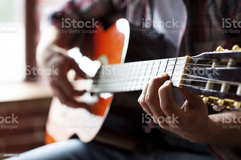 Man playing guitar. royalty-free stock photo