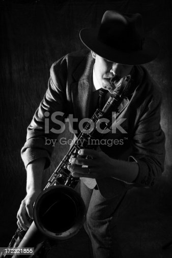 istock Man playing jazz on the saxophone 172321855