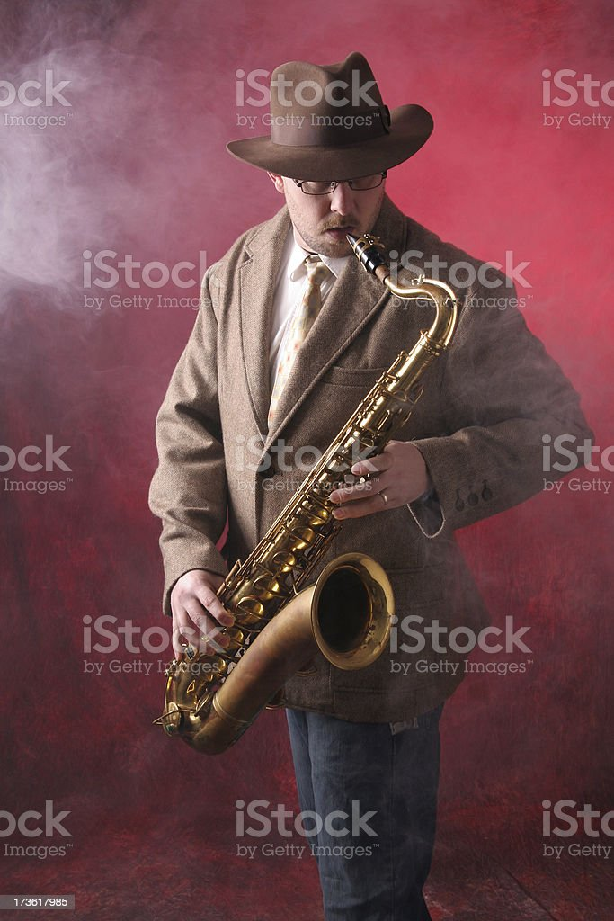 Man Playing Jazz on the Saxophone royalty-free stock photo