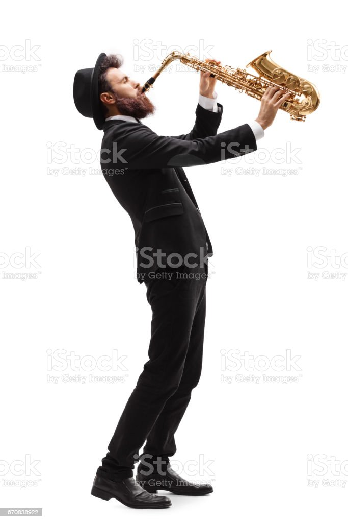 Man playing on a saxophone stock photo