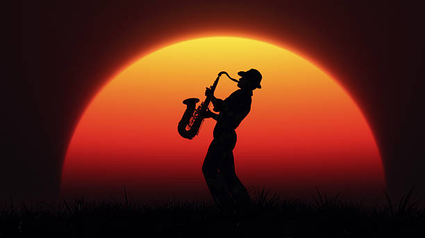 mann spielen am saxophon - blues stock-fotos und bilder