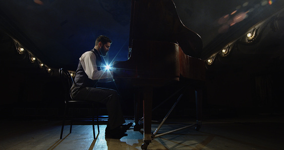 Man playing piano on the stage