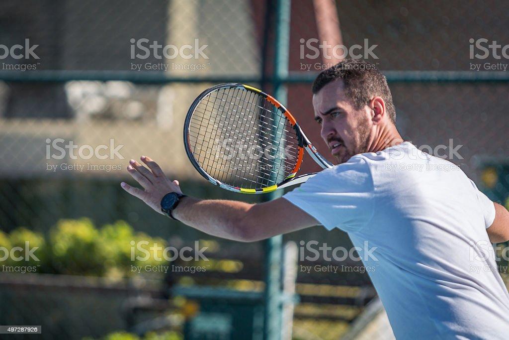 man playing tennis  match stock photo