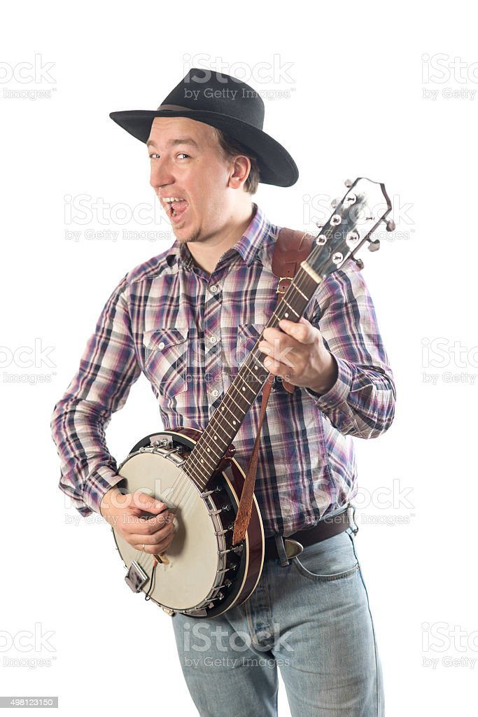 man playing the banjo stock photo
