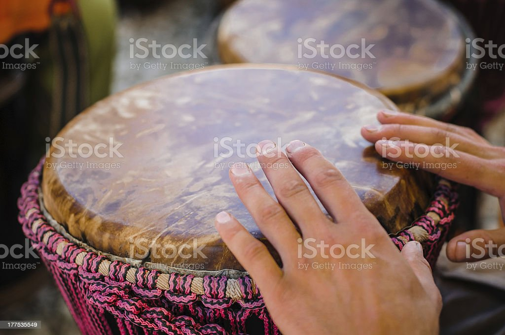 Man playing the djembe royalty-free stock photo
