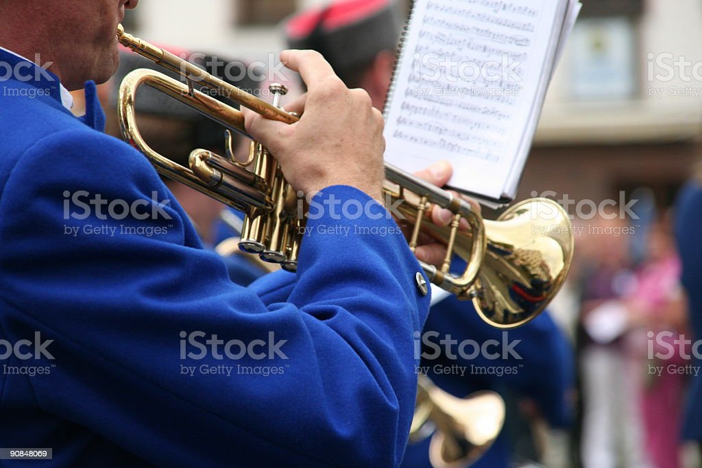 man playing trumpet at a parade in germany royalty-free stock photo