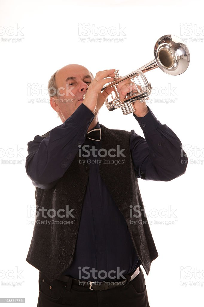man playing trumpet on a white background stock photo