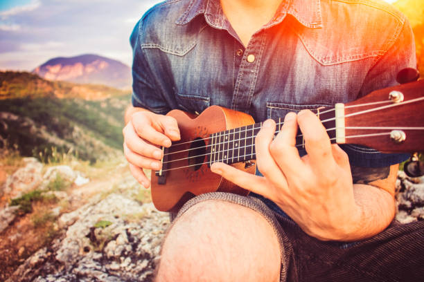 man spielt ukulele auf hügel - ukulele songs stock-fotos und bilder
