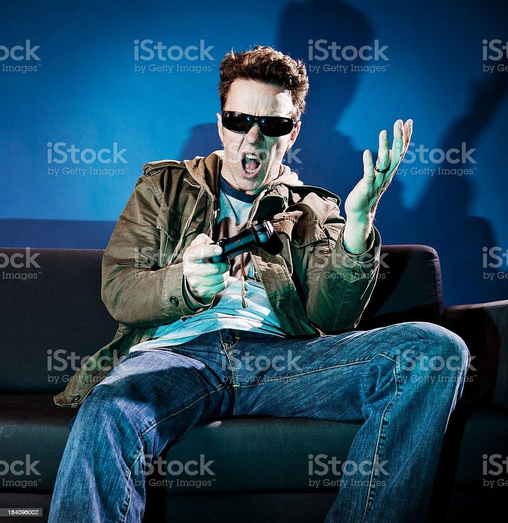 Man Playing Video Games royalty-free stock photo