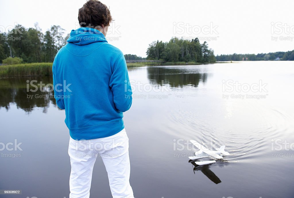 Man playing with an rc plane 免版稅 stock photo