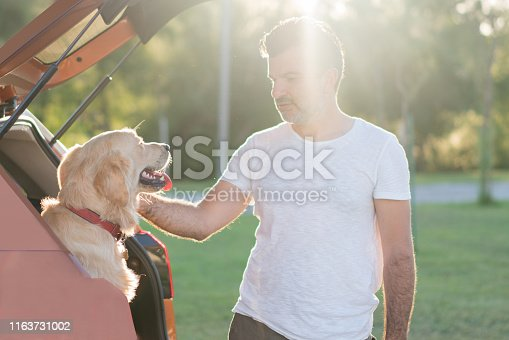 517930062istockphoto Man playing with his dog on the car trunk 1163731002