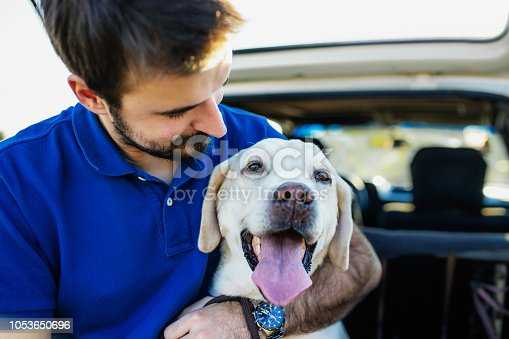 937331052istockphoto Man playing with his dog 1053650696