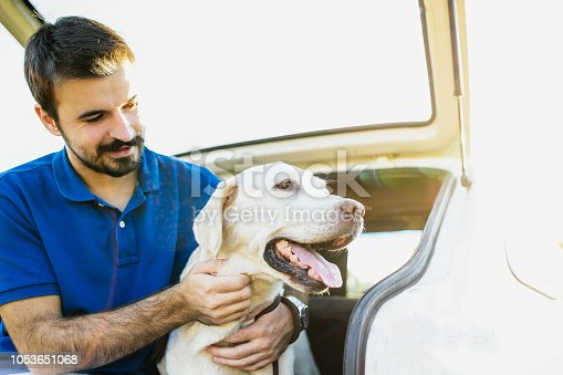 937331052istockphoto Man playing with his dog 1053651068