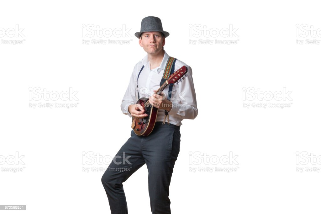Man plays mandolin stock photo