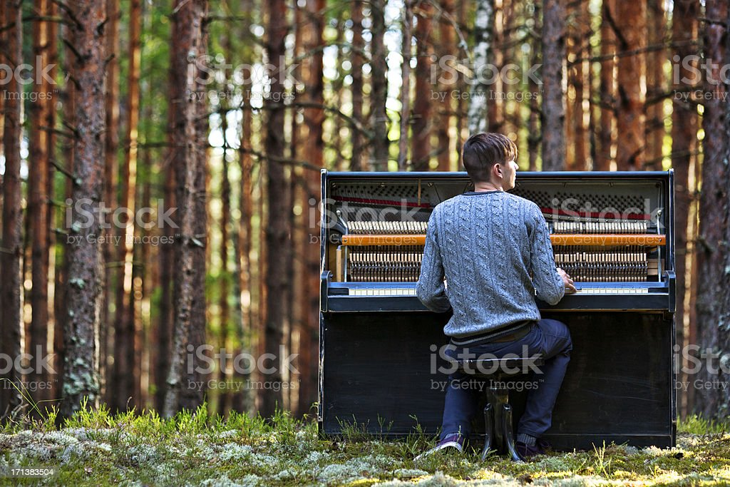 man plays the piano in the woods