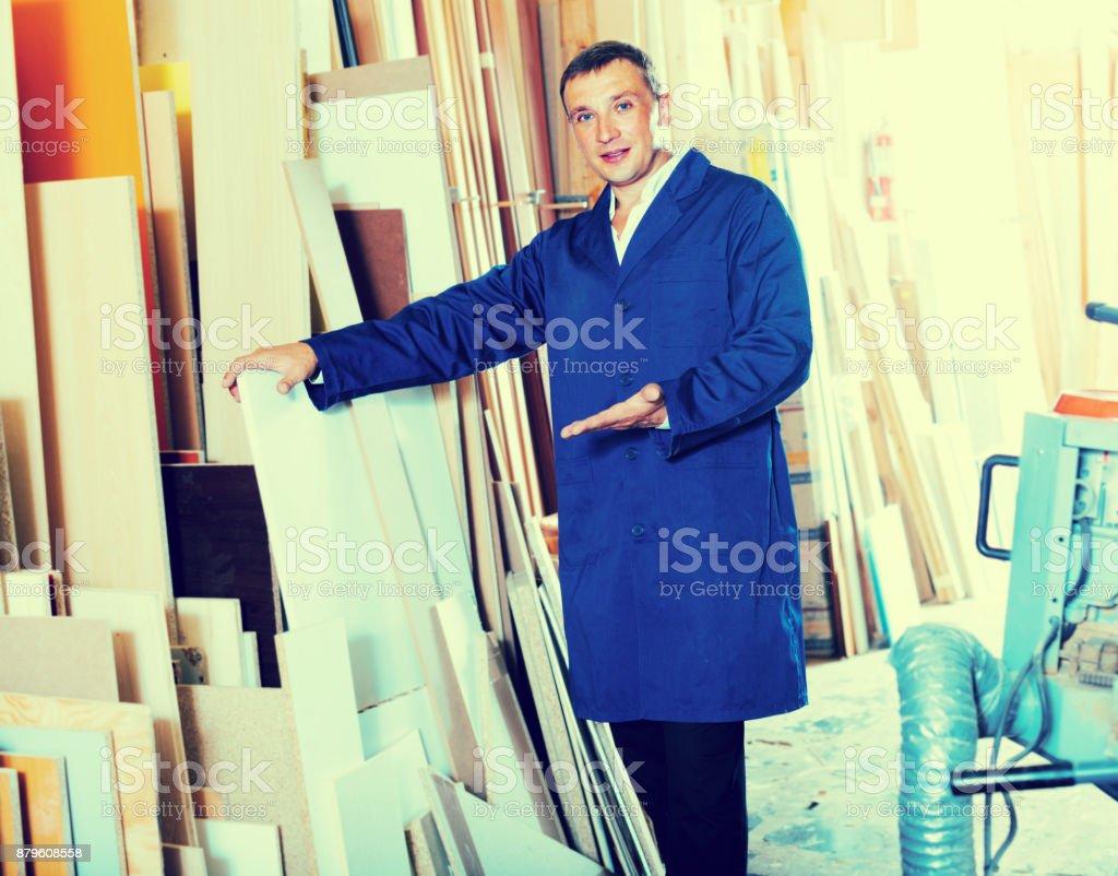 man plywood framing stock photo