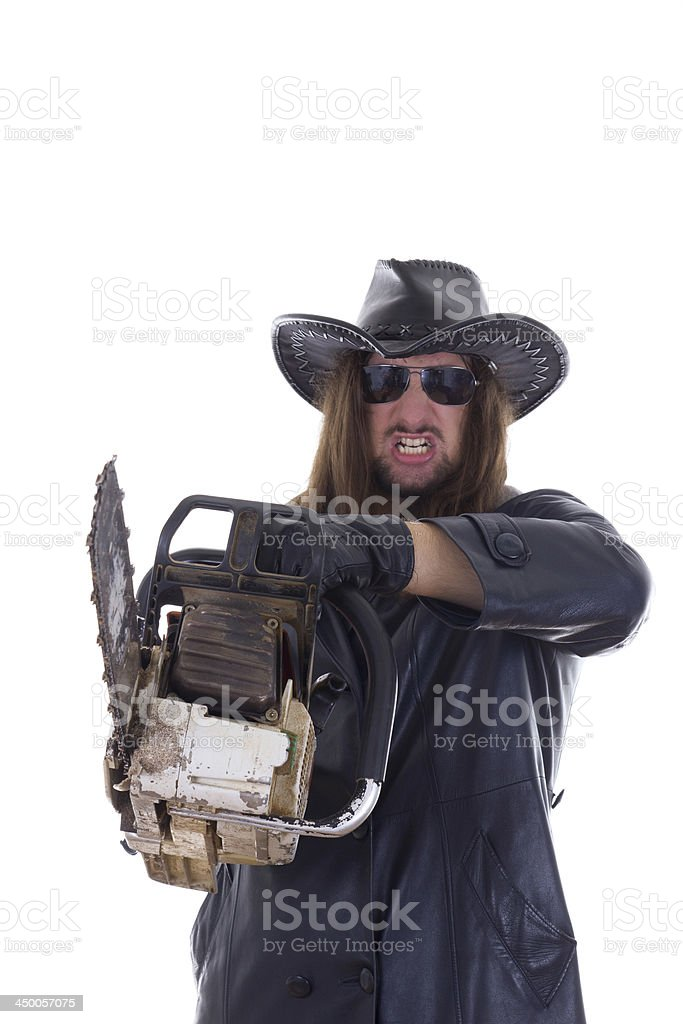 man pointed a chainsaw royalty-free stock photo