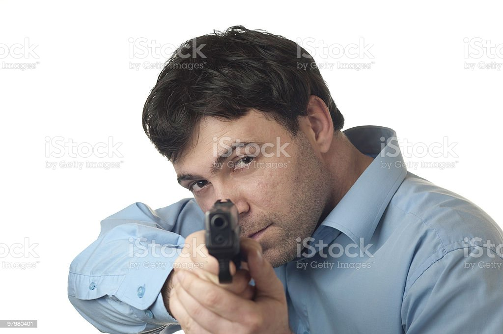 man pointed a gun royalty-free stock photo