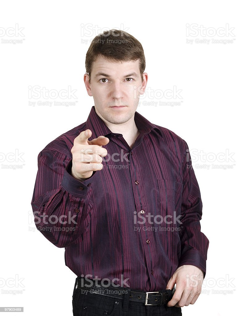 Man pointing a finger royalty-free stock photo