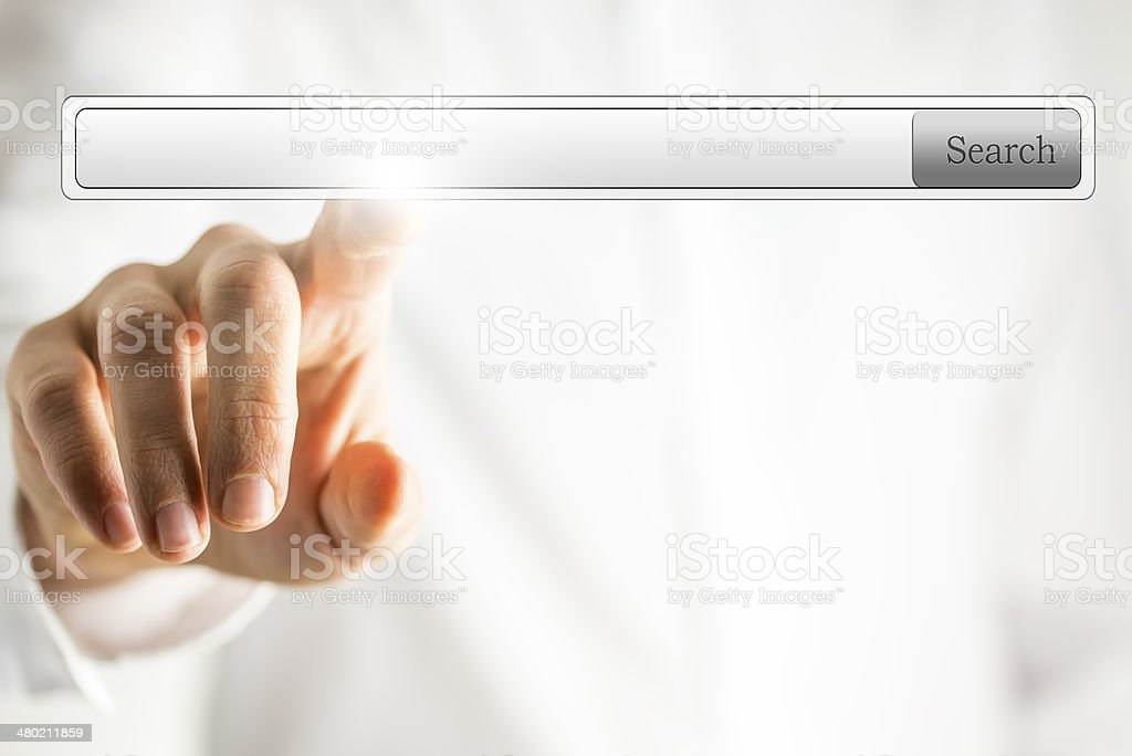 Man pointing at empty search box royalty-free stock photo