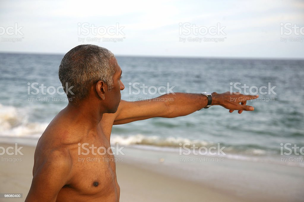 Man Pointing At Sea royalty-free stock photo