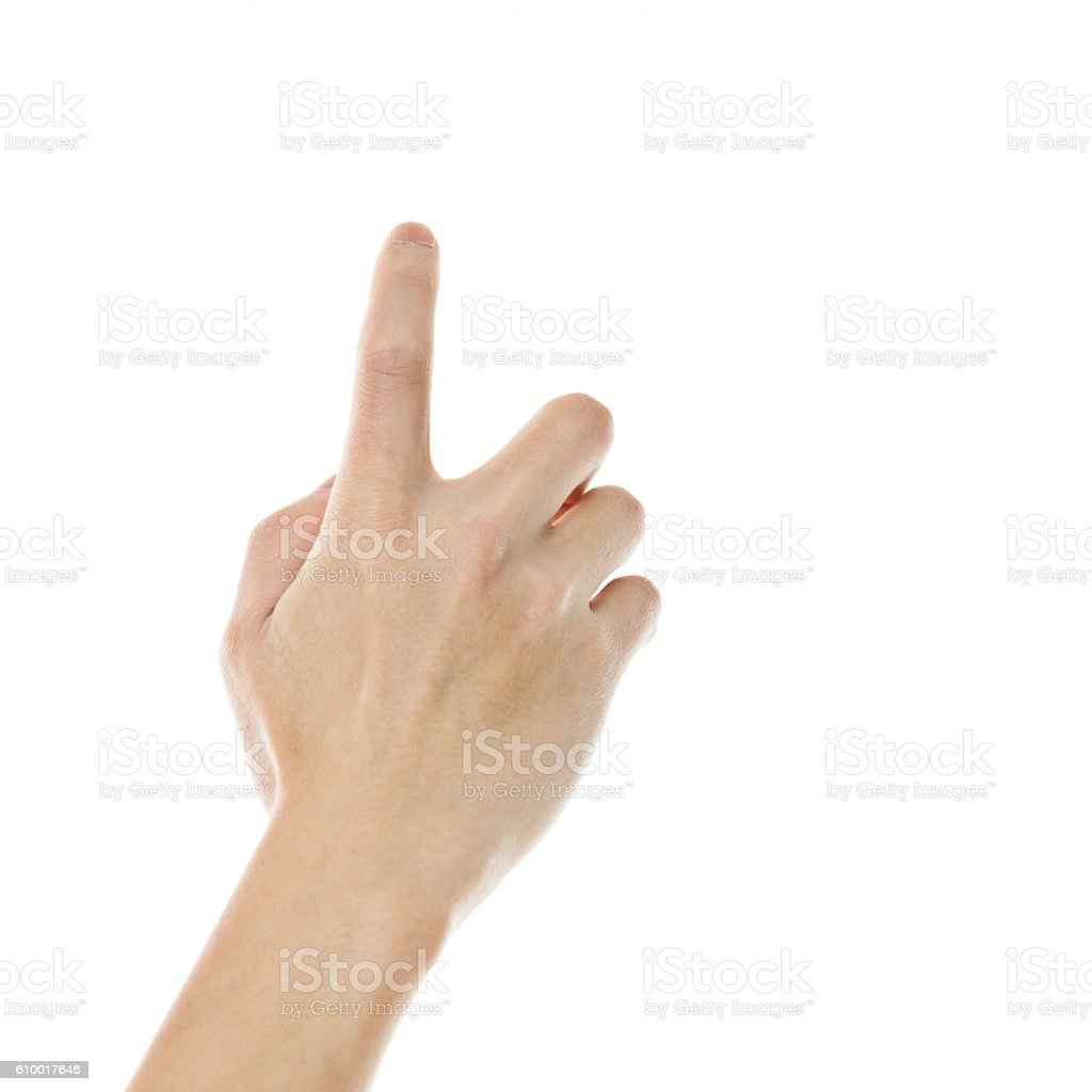 Man pointing finger against white background stock photo