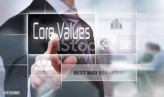 531925785 istock photo Man pointing his finger at the words core values 474134364