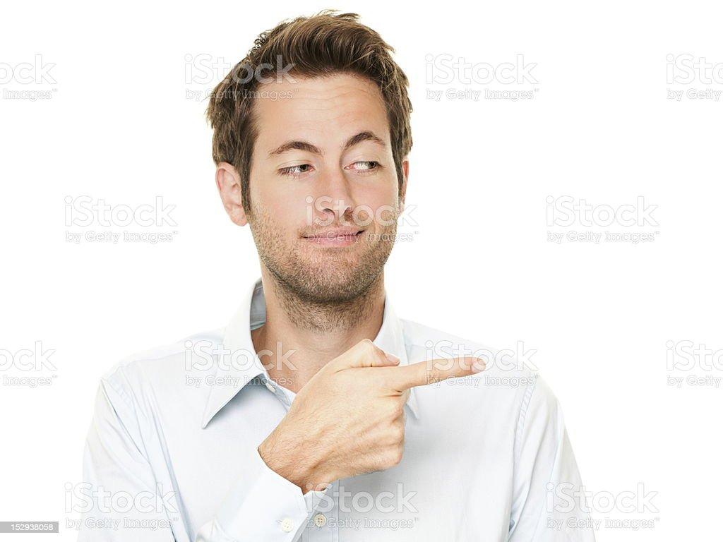 Man pointing stock photo